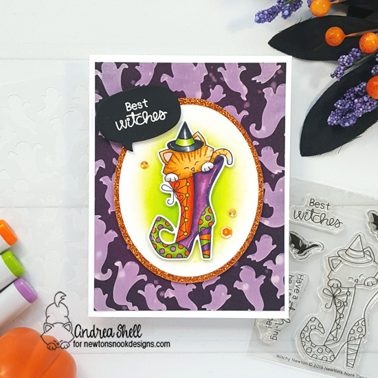 Cat in Witch Boot Halloween Card by Andrea Shell | Witchy Newton Stamp Set and Ghosts Stencil by Newton's Nook Designs #newtonsnook #handmade
