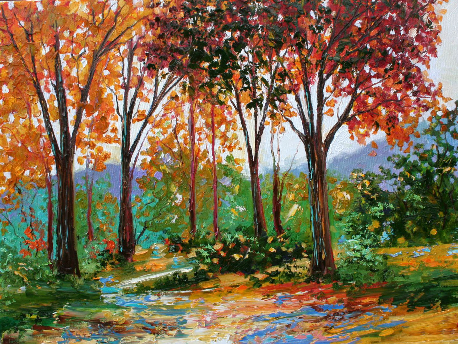 Cat In Fall Wallpaper Wallpapers Autumn Oil Paintings