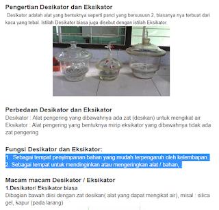 Eksikator dan desikator digunakan di laboratorium untuk