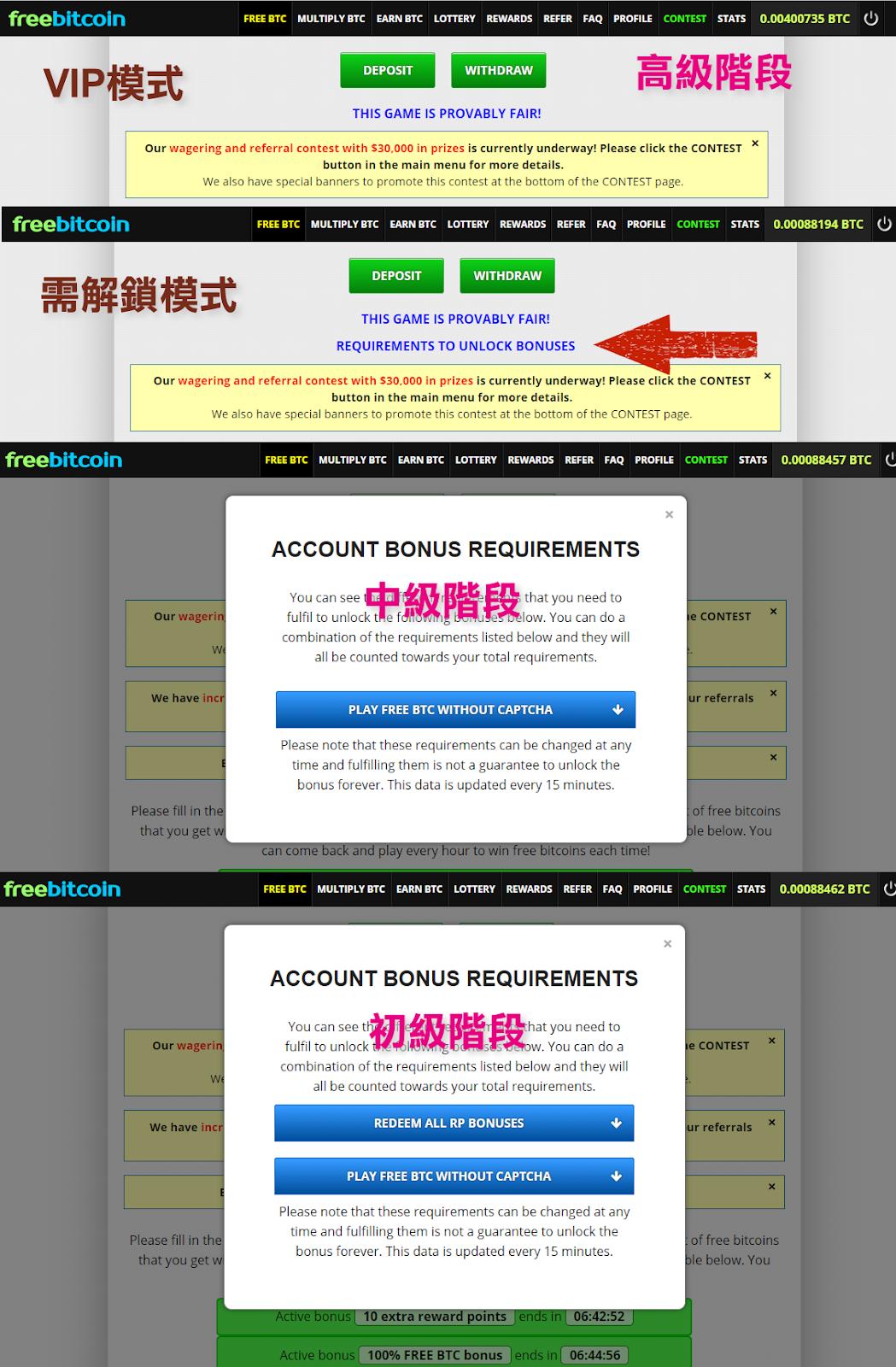 巧言天堂: [速報!] FreeBitco.in 大驚訝,增加免驗證選項,解鎖機制~PLAY WITHOUT CAPTCHA