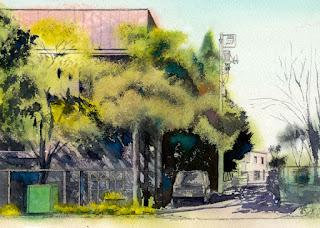 水彩画恵比寿4丁目 シャドウを先に描く(グリザイユ)