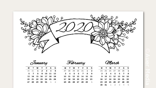 DIY Printable Calendars 2020 - Wall / Desk / Planner / Junk Journal