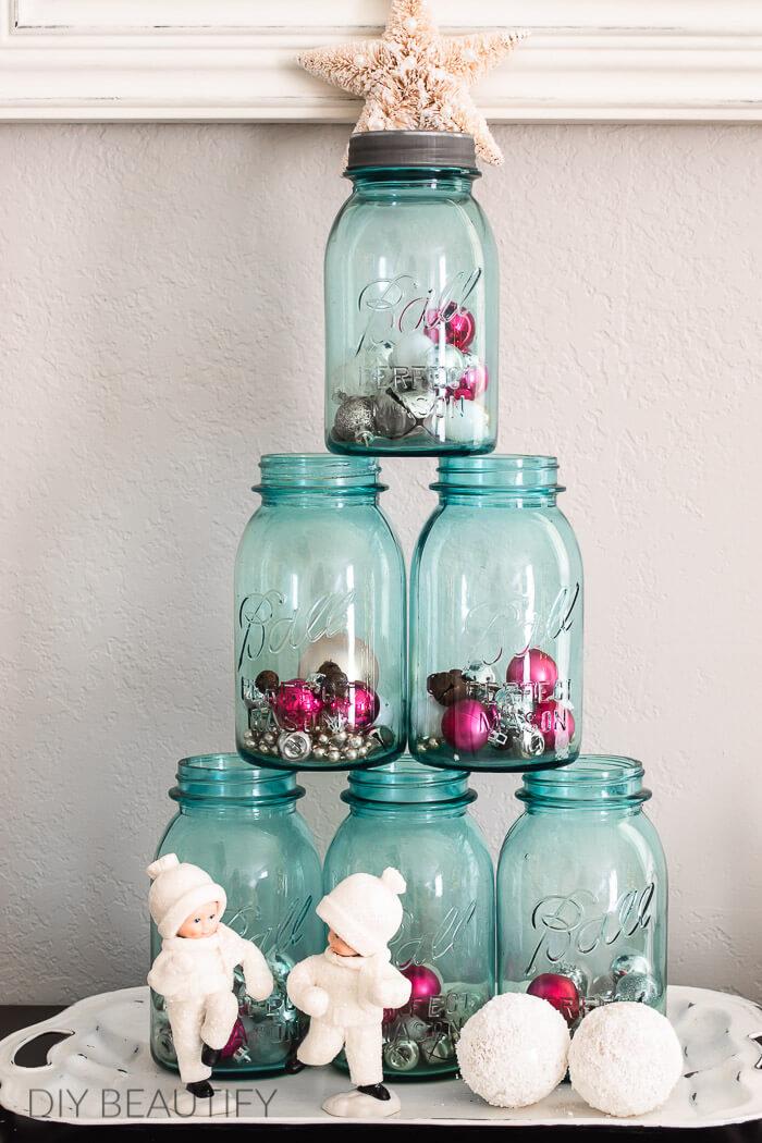 blue vintage mason jars