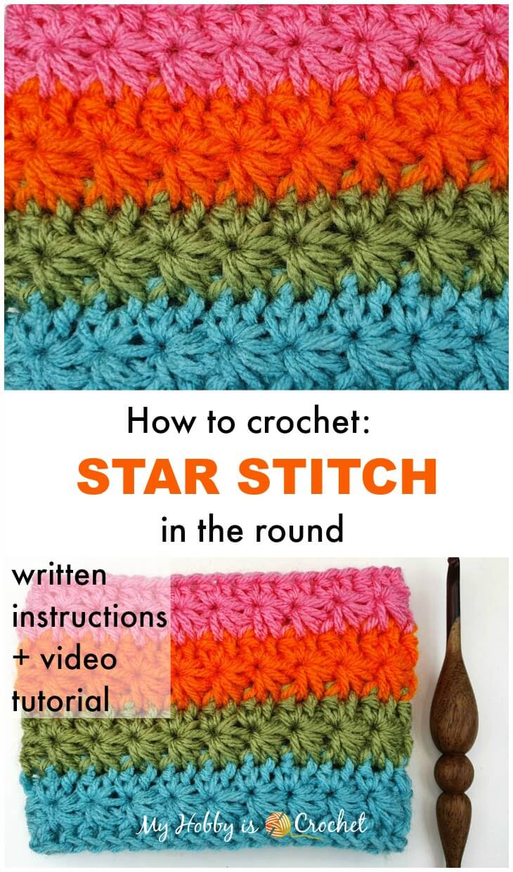 Crochet Tutorial: How to Crochet the Star Stitch in the round
