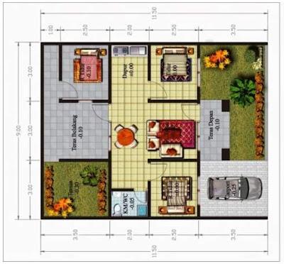 Contoh Denah Desain Rumah Minimalis 1 Lantai 3 Kamar
