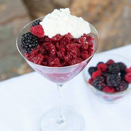 Frozen-Inspired Blackberry-Raspberry Granita with Vanilla Whipped Cream