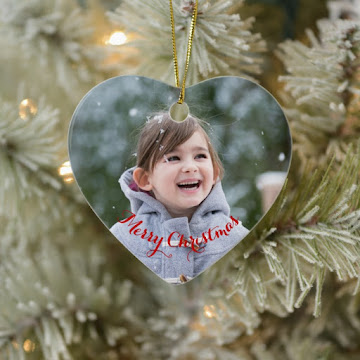 Create Your Own Heart Ceramic Holiday Christmas Photo Ornament