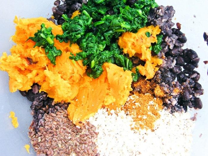 Sweet potato burgers mixture