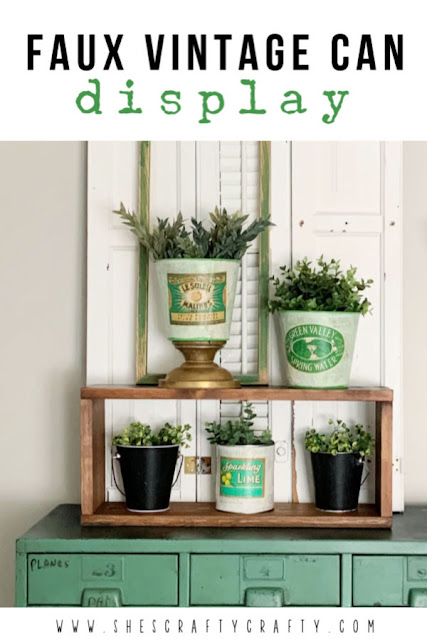 Faux Vintage Can Display  |   faux vintage cans, faux vintage bucket, greenery, plant bucket