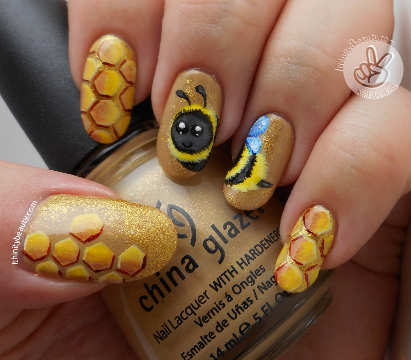 Freehand bumble bee nail art ithinitybeauty nail art blog i love sitting in the garden in england watching them go about their buzzy busy business i realized i had never done bumblebees before and i wanted to do prinsesfo Image collections