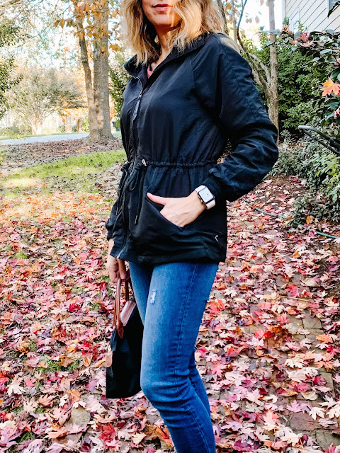 casual women's jackets for fall, affordable women's jackets, zyia active jackets, zyia reviews, black jacket with removable hood