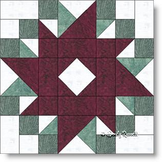 Peony and Forget Me Not quilt block image © Wendy Russell