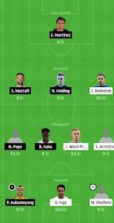 Arsenal Vs Southampton Grand league Dream11 team