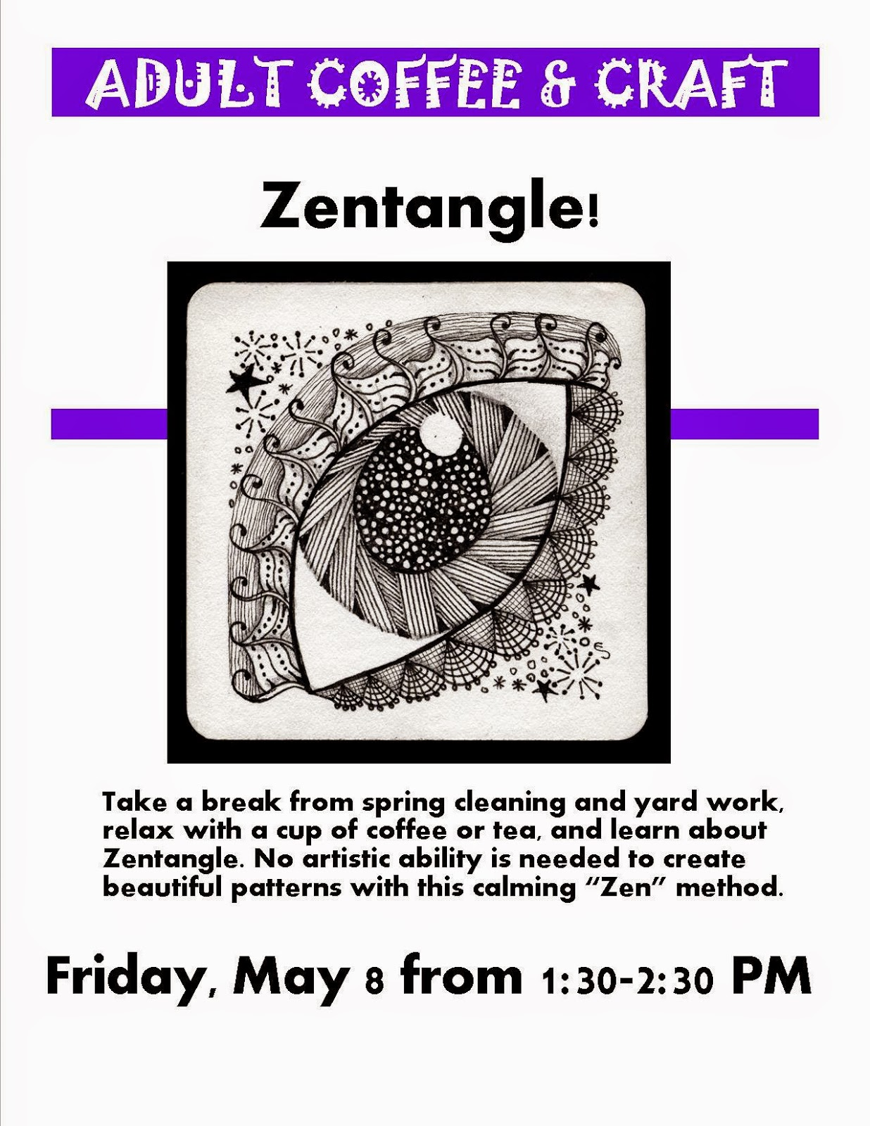 Zentangle for the coffee and craft today at 1:30