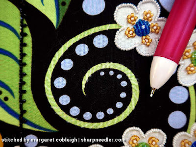 Preparation for stitching one of the green tendrils. (Wild Child Japanese Bead Embroidery by Mary Alice Sinton)