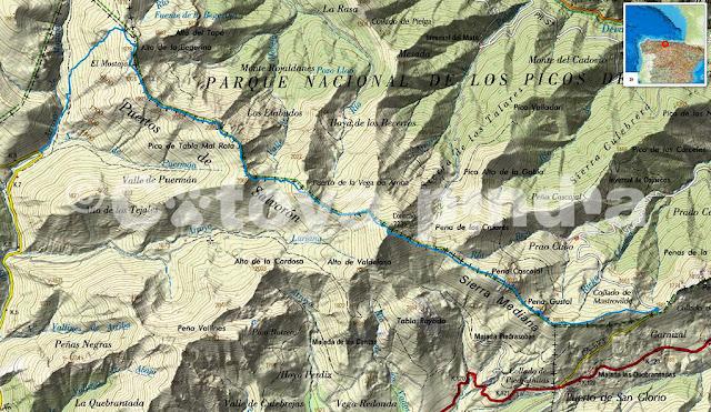 Mapa IGN con la travesía señalizada a los puertos de Salvorón y sierra Mediana, con subida al Coriscao desde el collado de Llesba.