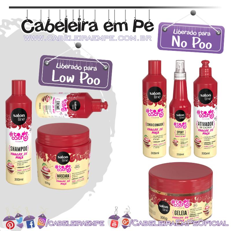 Shampoo, Máscara e Creme para Pentear (Liberados para Low Poo), Condicionador, Ativador de Cachos, Gelatina e Spray Finalizador Tô de Cacho Vinagre de Maçã - Salon Line