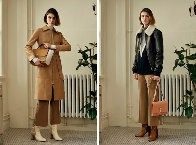 Укороченные брюки фасона клеш от бедра с пальто