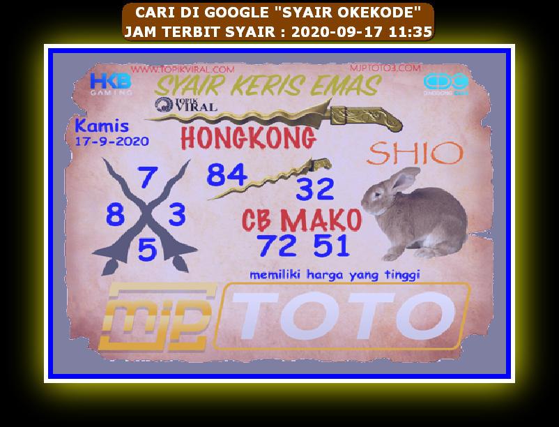 Kode syair Hongkong Kamis 17 September 2020 246