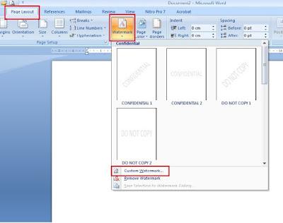 Membuat Watermark atau Tulisan Background di MS Word