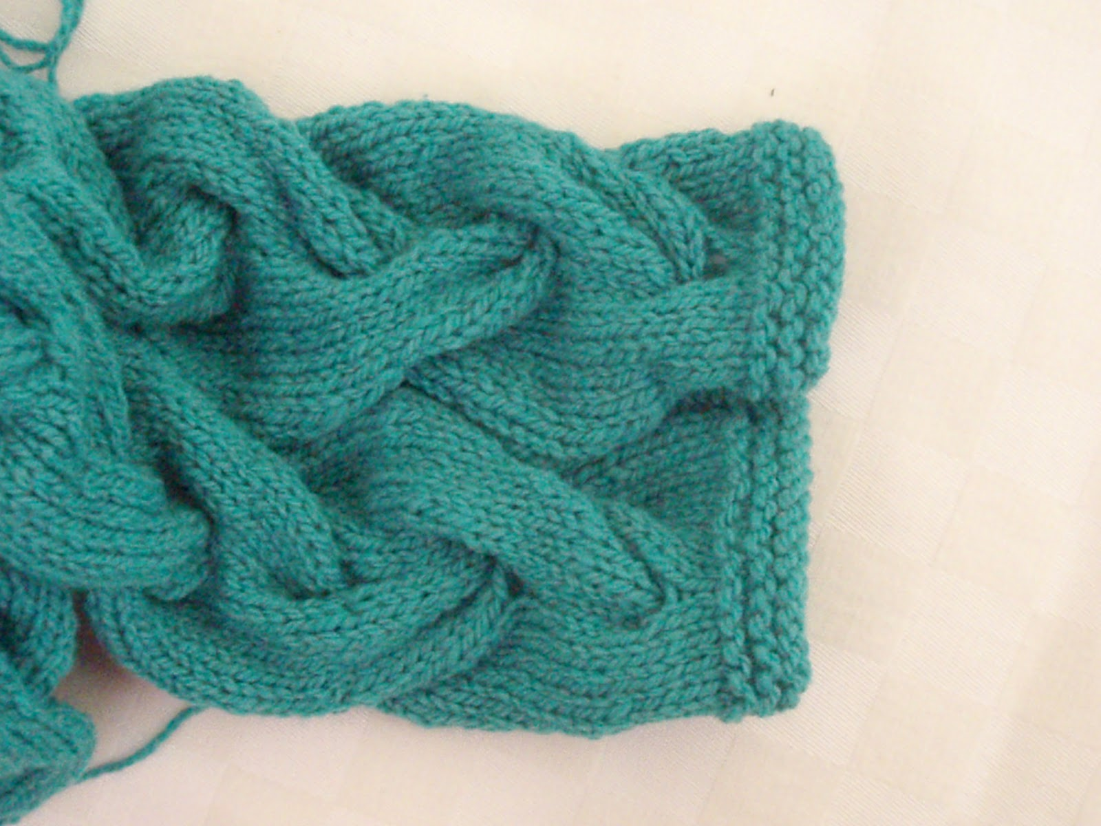 Knitting Work in Progress: Tip How to Prevent Cable Flare