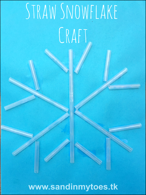 Cute and easy winter craft for toddlers and preschoolers - using straws to make a snowflake pattern!