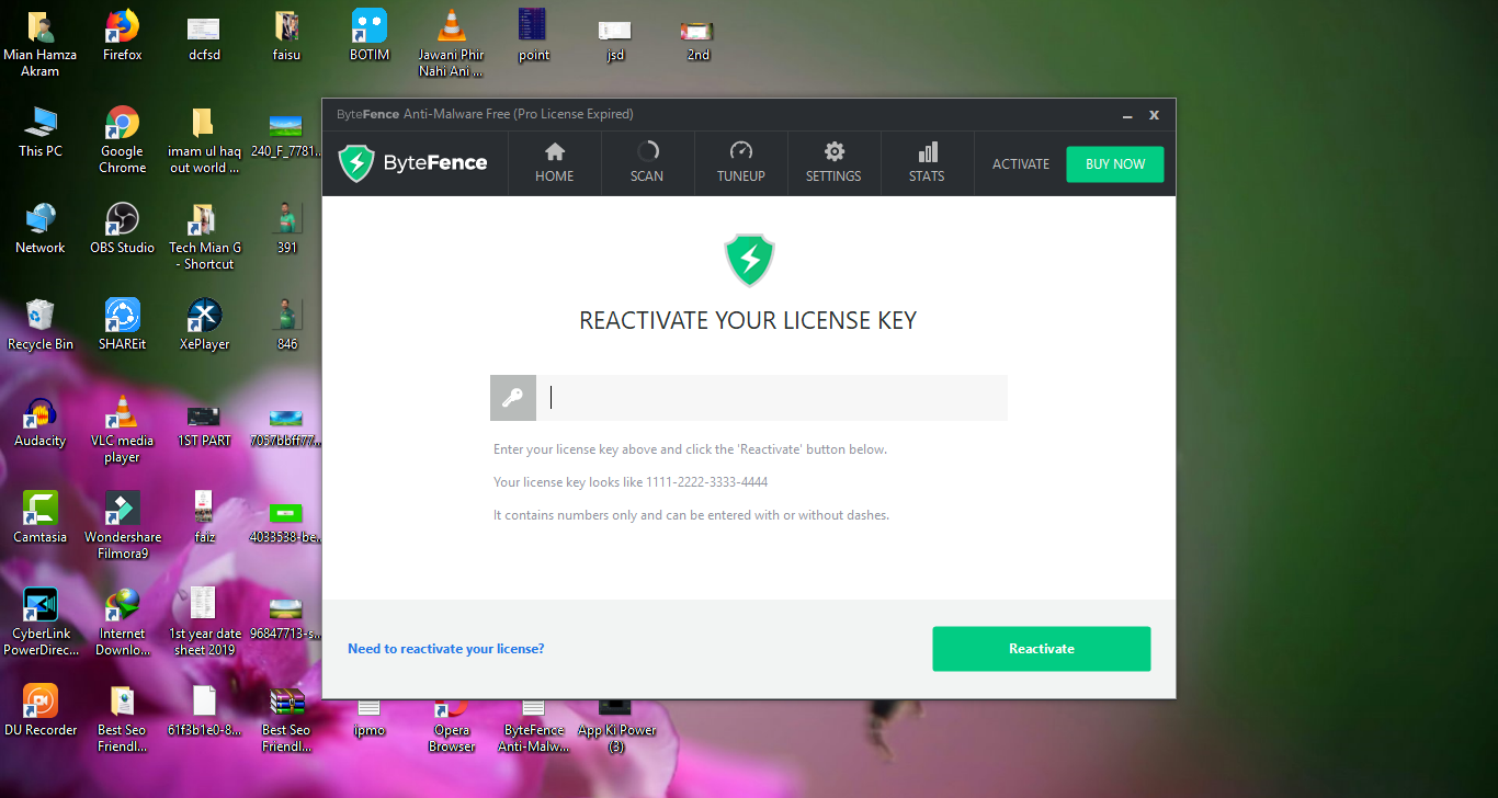 87 ACTIVATION KEY BYTEFENCE ANTI-MALWARE - ActivationKey