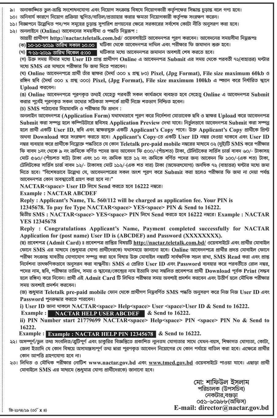 National Computer Training and Research Academy (NACTAR) Job Circular 2019