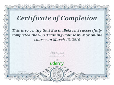 Online course for SEO from SEOMoz at Udemy