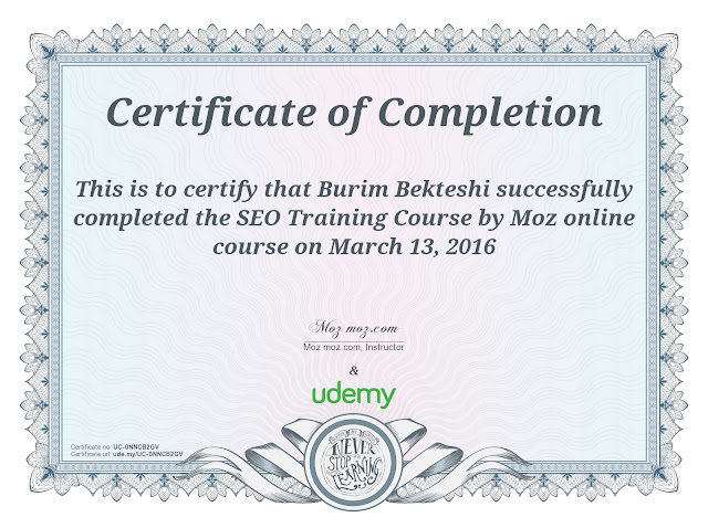 Online course for SEO from SEOMoz at Udemy- Burim Bekteshi