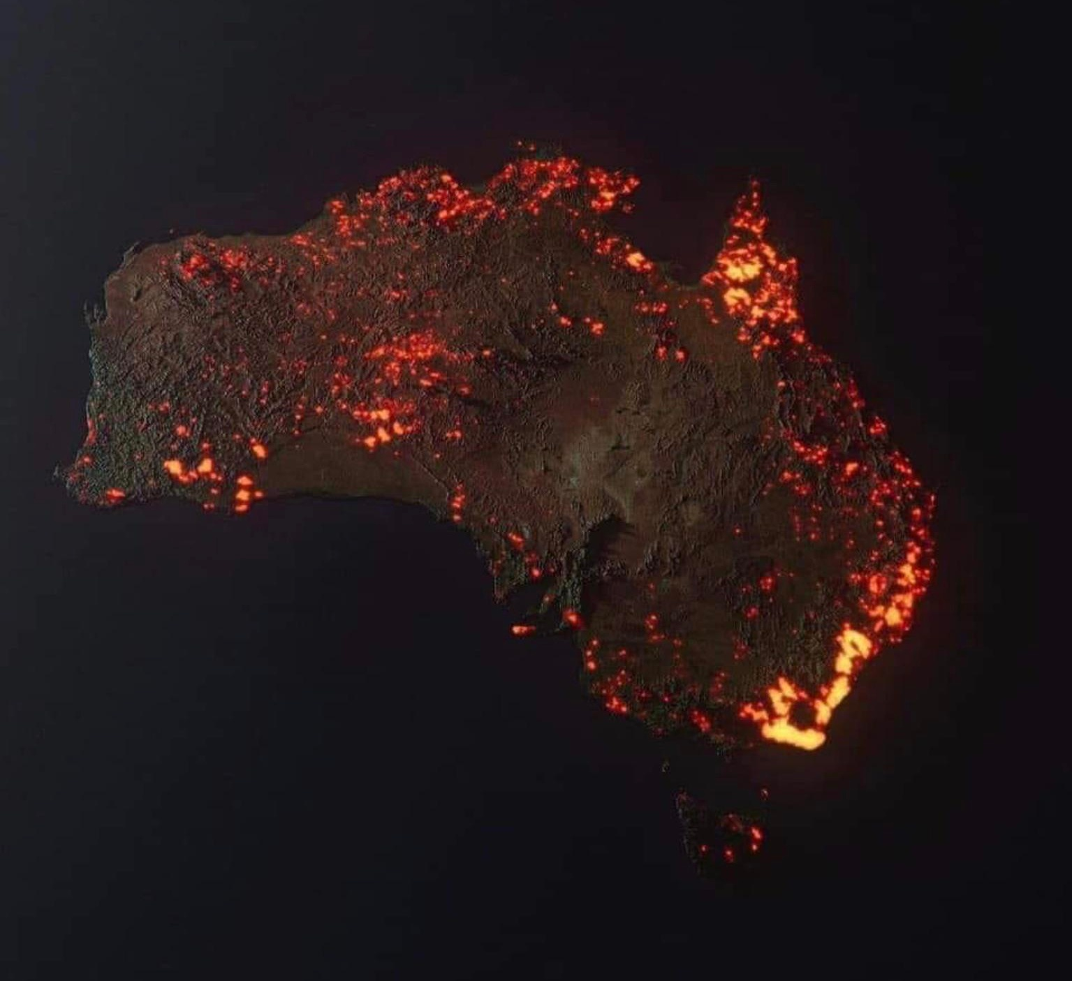 3D visualization of the fires in Australia
