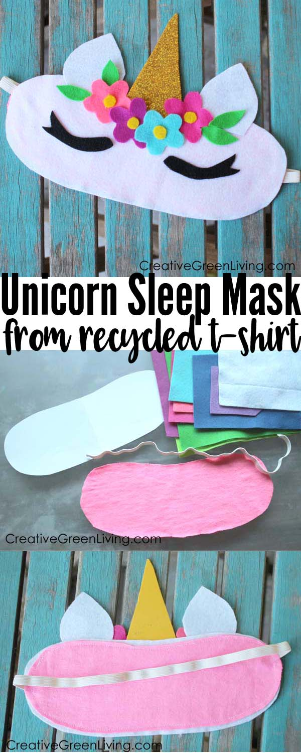 Recycled unicorn craft sleeping mask tutorial with free printable pattern