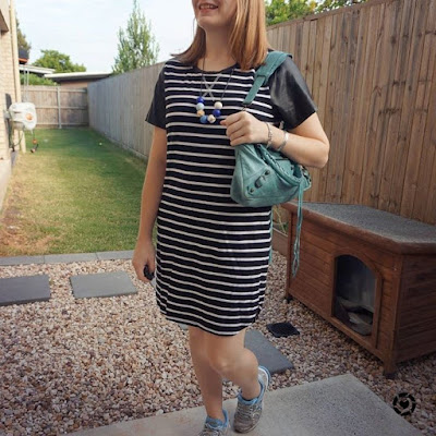 awayfromblue Instagram casual sporty tee dress outfit sneakers balenciaga first bag all about eve stripes