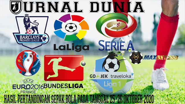 Hasil Pertandingan Sepakbola Tanggal 25 - 26 Oktober 2020