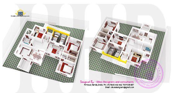 Ground floor isometric 3d plan