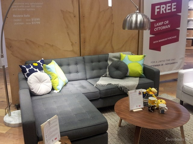 EQ3 Reverie two piece sectional in grey