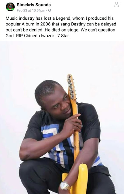 Photos: Popular Igbo singer,  Chinedu Iwozor slumps and dies while performing on stage in Anambra