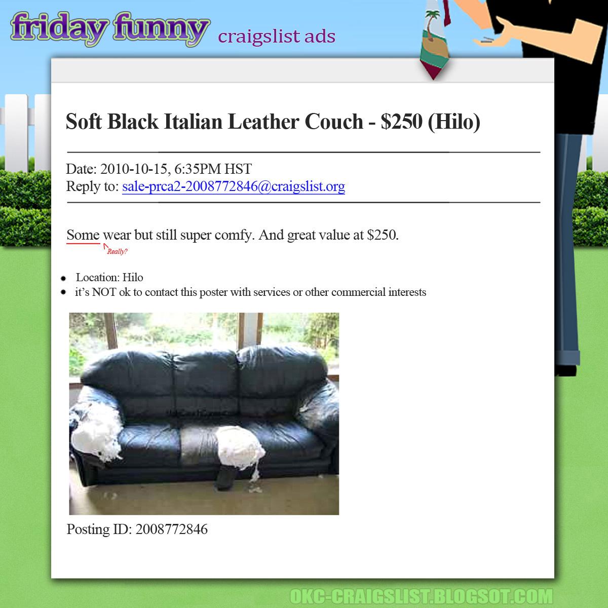 craigslist tulsa sofa modern corner funny ads leather couch 39some wear