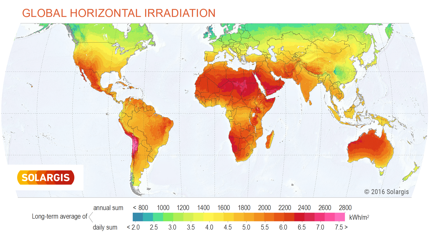 How the potential for solar energy varies across the world