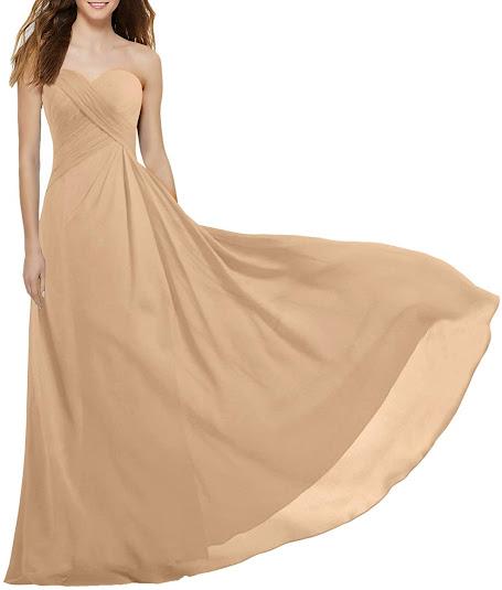 Gold Strapless Chiffon Bridesmaid Dresses