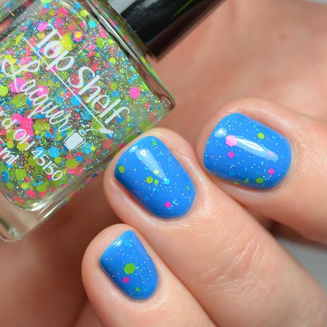 neon glitter nail polish topper