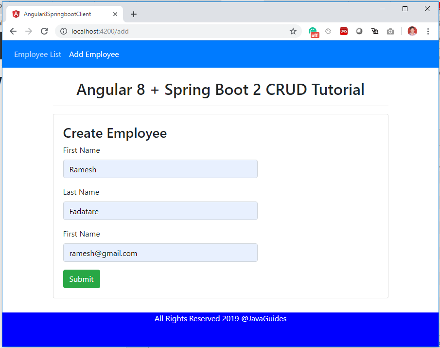 Angular 8 CRUD Example Tutorial