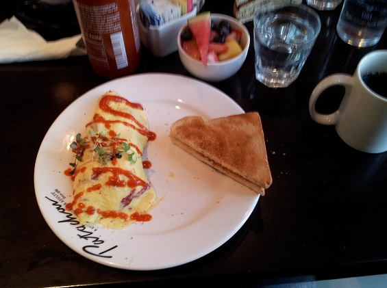 This Morning We Showed Up At Cafe Pretenchou Shortly After 0800 For Brekkie I Had An Omelet With Smoking Goose Jowl Bacon Feta And Sun Dried Tomatoes