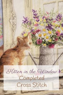 Finished Kitten in the Window Cross Stitch