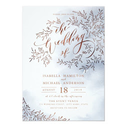 Snowy Rustic Floral Calligraphy Winter Wedding Personalized Invitation