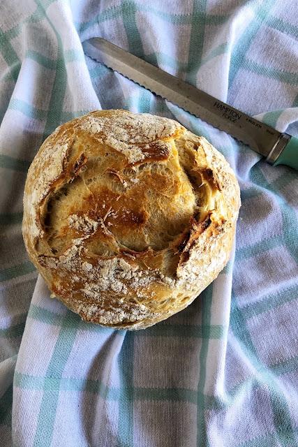 Artisan Bread on a checkered towel
