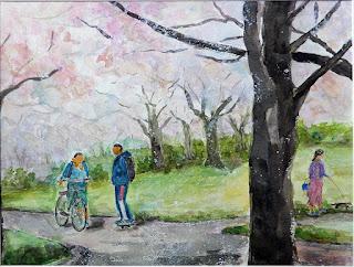 浦安市美術展 入選 ソメイヨシノ満開 水彩画