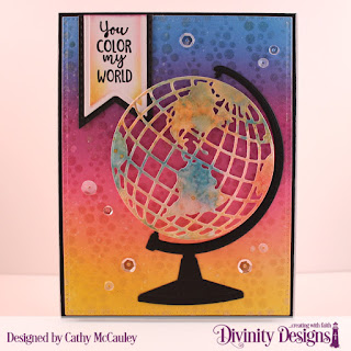 Divinity Designs Stamp Set: Color My World, Mixed Media Stencil: Bubbles, Custom Dies: Pierced Rectangles, Globe & Stand, Pennant Flags, Double Stitched Pennant Flags