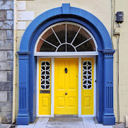 Yellow and Blue Georgian Door in Clonakilty West Cork