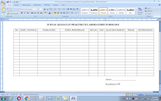 Format jurnal kegiatan praktikum laboratorium biologi